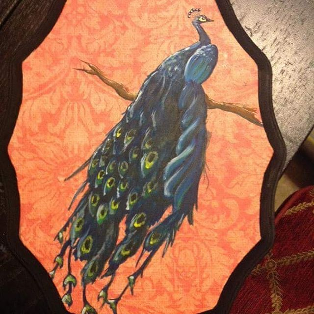 #peacock plaque! Had fun with this one, it's a great accent piece! #localartist #paintandsip #huntingtonbeach #orangecounty #learntopaint #funart #artprojects #decorate