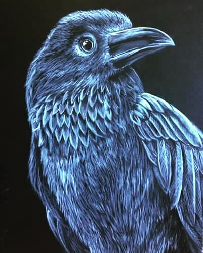 Raven painting - SOLD! It's hard to say goodbye to one of my favourites! If you are looking for paintings, I have a bunch for sale!  #lusciousbrushpainting #localartist #paintparty #paintandsip #raven #crow #blackandwhite #orangecounty #huntingtonbeach #supportsmallbusiness #supportlocalartists
