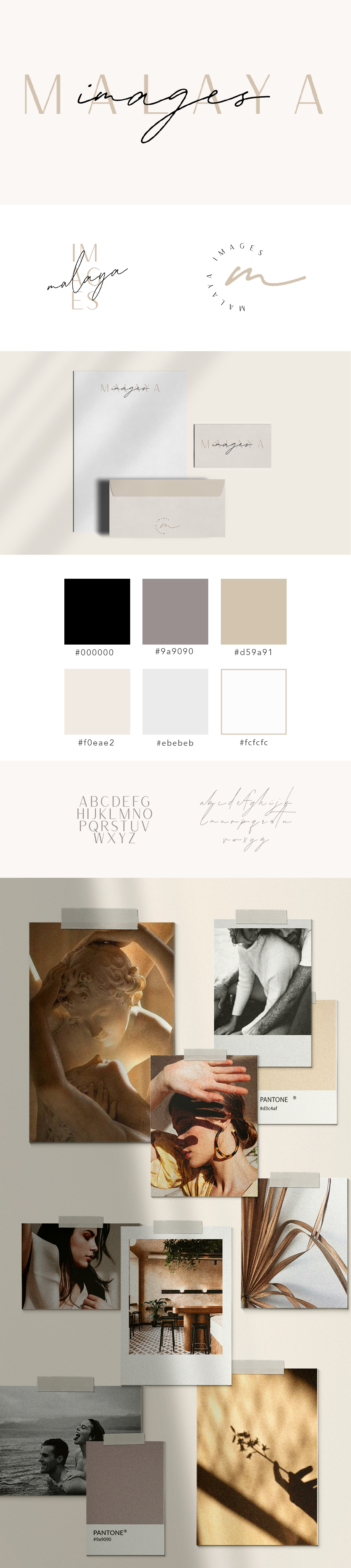 Luxury Brand identity for San Francisco based photographer. Combining minimalist branding, luxurious nude tones, shadow play, and script writing to create high end luxury photographer brand persona.