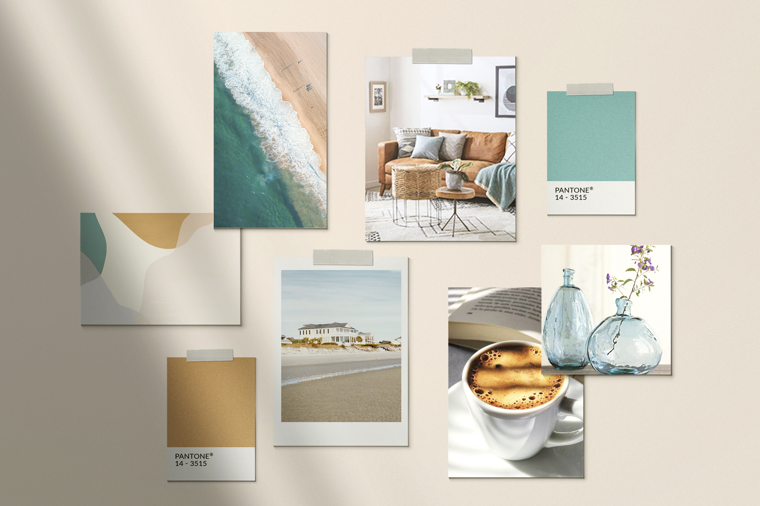 Relaxed Beach Themed Therapist Mood Board with all natural color palette of blues, creams and nudes