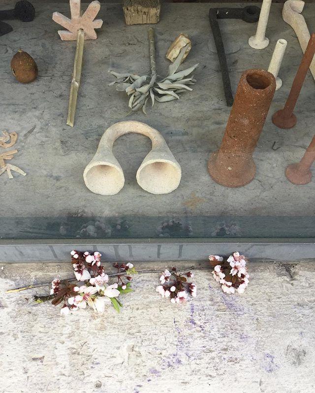 """Thank you sweet stranger who left these flowers on our windowsill! I take it as a good omen for Maja Escher's opening of """"Quatro Ventos"""" (Four Winds) tonight from 6 pm to 10 pm! There will be fresh oranges from her garden in Alentejo too so don't miss out:) // Obrigada vizinhx mistériosx quem deixou está oferenda na nossa janela!  Hoje as 18h inaugura a exposição Quatro Ventos de Maja Escher e vai haver laranjas do seu monte :) . . . . . #contemporaryart #ceramics #artexhibition #artinstallation #water #wind #rain #chuva #agua #vento #quatroventos #ceramica #artistaportuguesa #artelisboa #majaescher"""