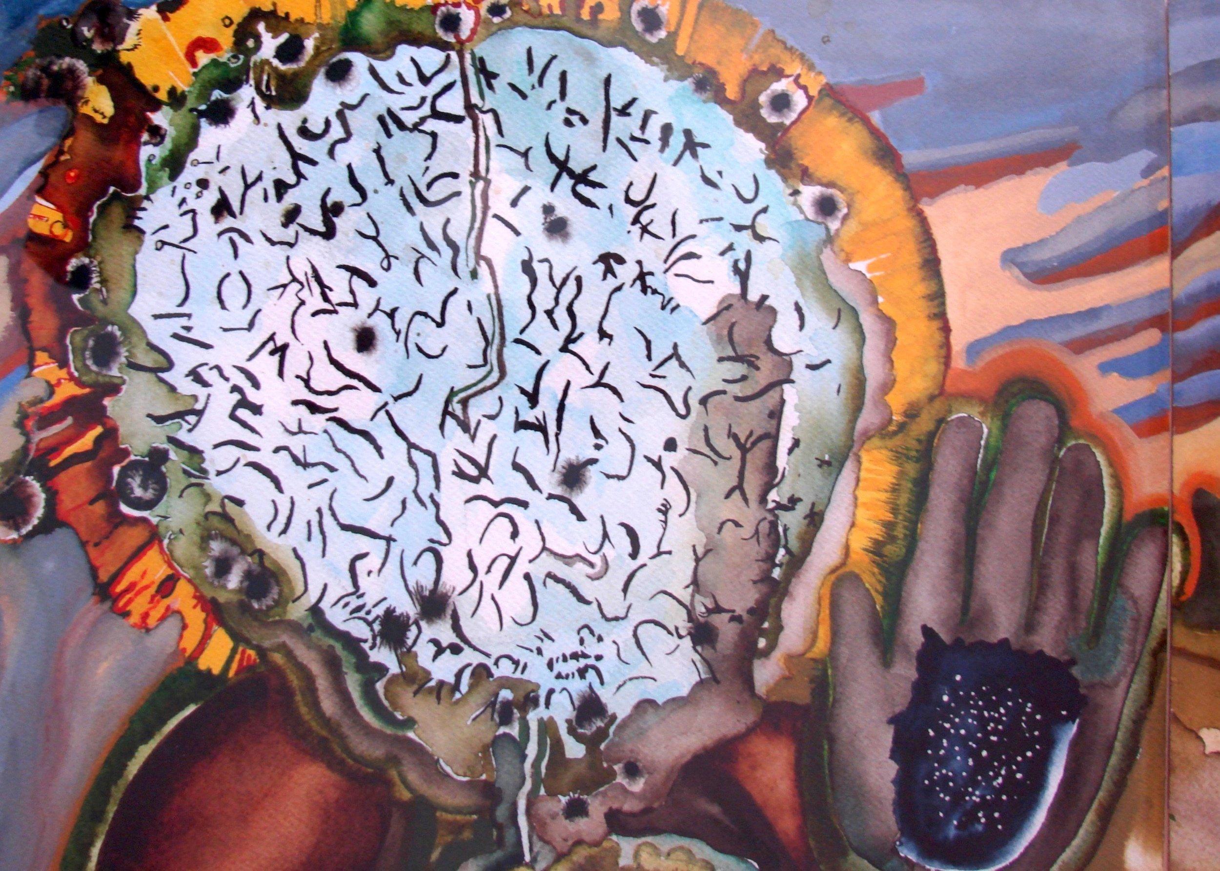 Detail, Sangoma's head, graphis scripta