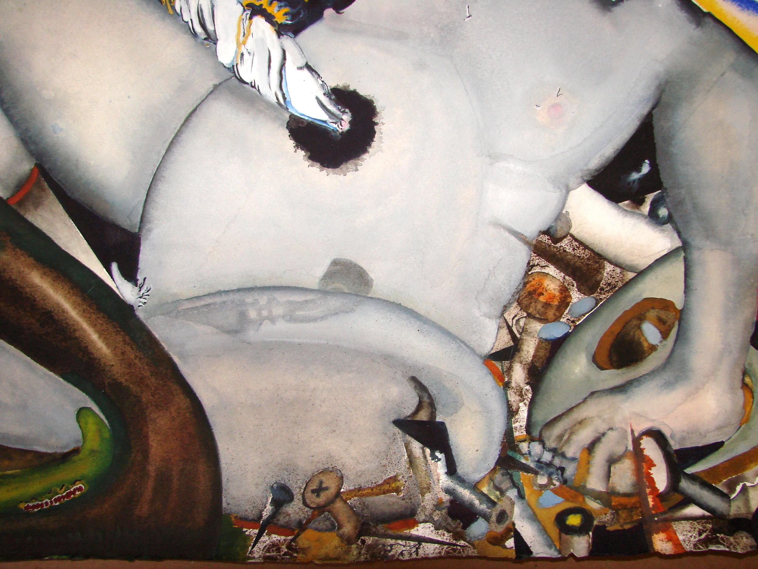 Detail, belly of felled white man
