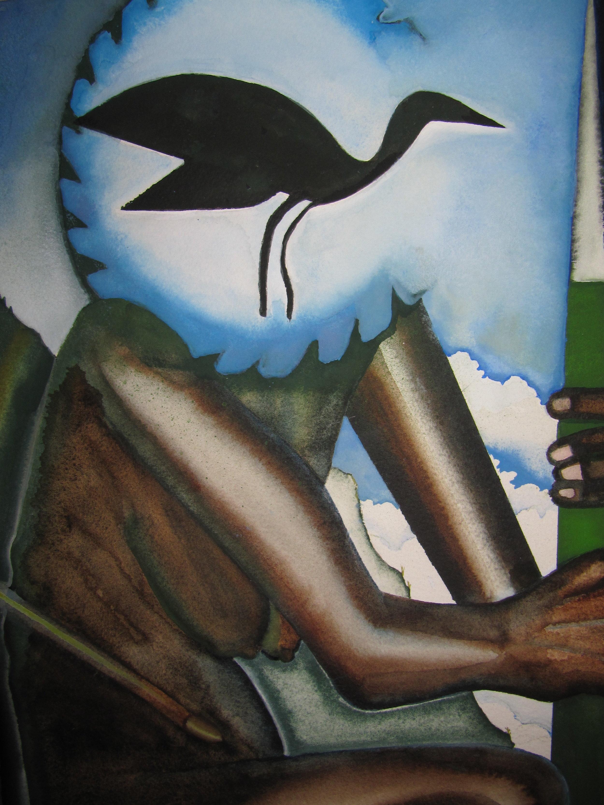 Detail, Sangoma with bird