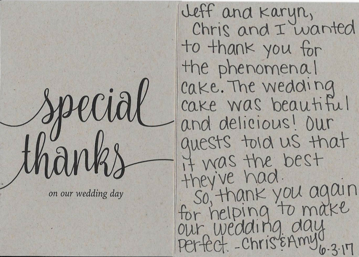 Thank you note for the Frosted Pumpkin Gourmet - customer review