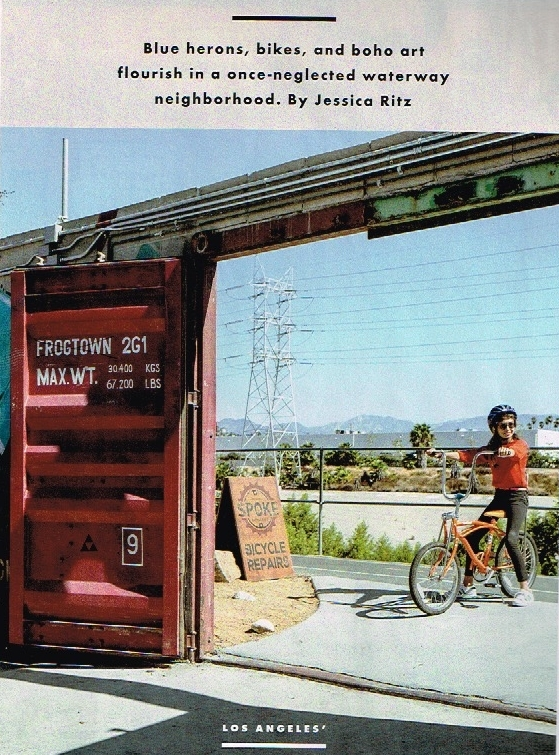 Repurposed shipping containers shelter the extensive patio from the bike path; it makes for a good first stop to download riding intel from fellow cafe customers. - — Sunset Magazine December 2017/January 2018