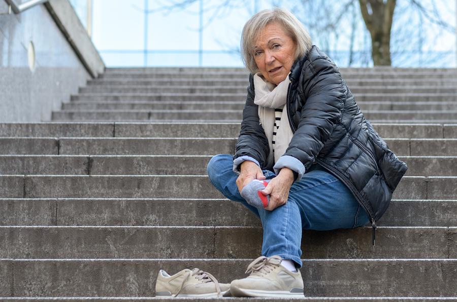 Helpless Senior Woman hurt