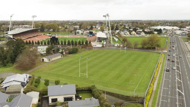Hamilton City Council records show a rabbit poisoning operation once occupied the site of Fraser Tech RFC's home ground on Mill Street. In the background is FMG Stadium Waikato.