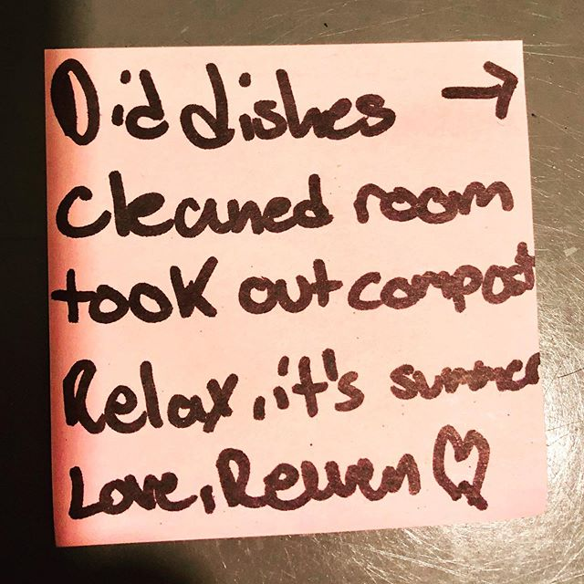 Oh, the feels!!⁣ 💕💕💕 ⁣ My oldest son left me the sweetest note (and gestures!) after a very long day at work. It's so lovely to come home at 9pm and not have to do housework!!⁣ PLUS an important reminder to enjoy the summer!! ⁣ 😭😭😭😭😭😭⁣ ⁣ #grateful  #workingmom #ilovemyboys