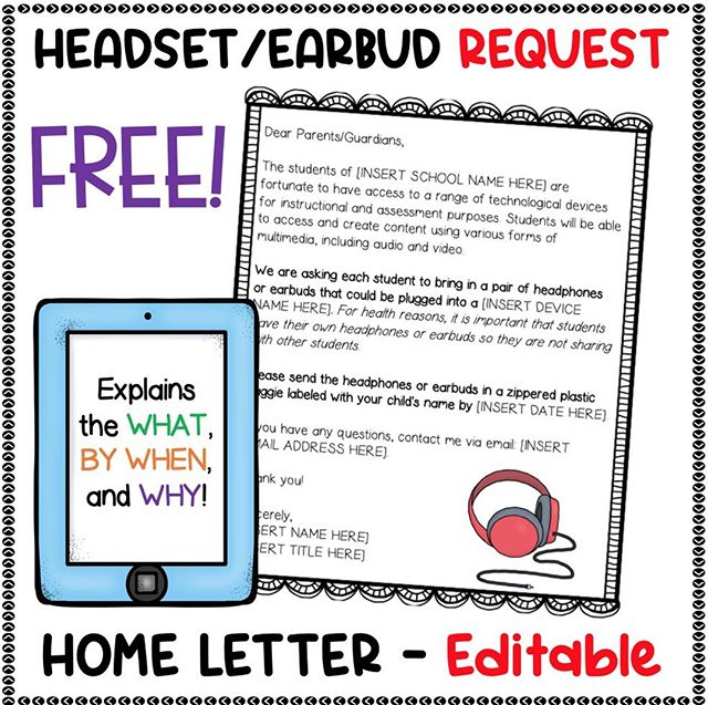 Save time at the beginning of the school year by downloading and printing these FREE EDITABLE HEADSET/EARBUD HOME LETTERS!⁠ ⁠ DM me with your email address for a FREE copy!⁠ ⁠ If your kids are fortunate enough to utilize technological devices during the school day, it helps to have them bring in headsets/earbuds from home. Not only is it healthier (think: lower likelihood of lice), it also stresses to parents the importance of technology integration in the curriculum!⁠ ⁠ These HEADSET/EARBUD HOME LETTERS are FULLY EDITABLE so you can tailor them to your own school, device types, due date, name, position, and email.⁠ ⁠ Special Tips:⁠ • In my school, we send home this letter to parents over the summer along with the class supply list. (However, they can be sent home any time of year!)⁠ • We have found that headsets work better with students in K-3. Earbuds are often too big and fall out of kids' little ears.⁠ ⁠ I hope you find the letters helpful!⁠ ⁠ #teachingliteracy #elementaryteacher #teachersfollowteachers #teachersofinstagram  #freeteachingresources #jenniferserravallo #technologyintheclassroom #backtoschool #homeschoolconnection⁠ ⁠ ⁠