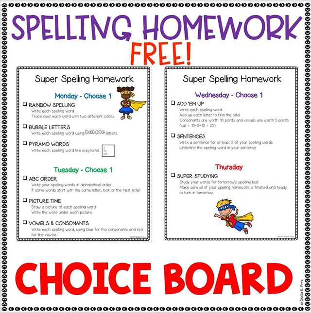Looking to incorporate more student choice this year? This FREEBIE gives students choices for completing spelling homework each week. ⁠ ⁠ DM me with your email address for a FREE copy!⁠ Students could keep this choice board at home or glue it into their spelling notebook for quick access.⁠ ⁠ And better yet, it works with any word list!⁠ ⁠ #teachingliteracy #elementaryteacher #teachersfollowteachers #teachersofinstagram  #freeteachingresources #spellinghomework #choiceboard #spelling #differentiatedinstruction⁠ ⁠