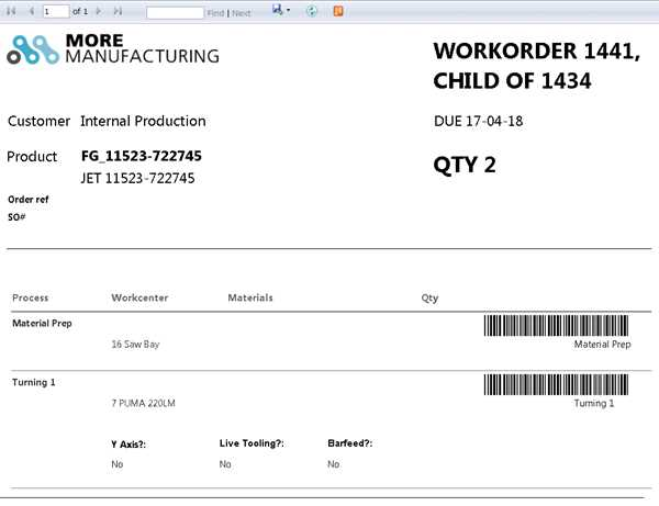 WORKORDER - Example of an automatically generated workorder from MORE MX.