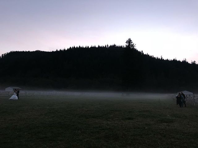 I took this shot on my phone this weekend at Brooke and Davin's wedding @rein_fire_ranch  The fog rolling into the valley was so perfect- great photo op for these two @eventsbyhr -  can't wait to see these!! #fallwedding #fog #photoop #dusk #seattlewedding #youmaynowkissthebride