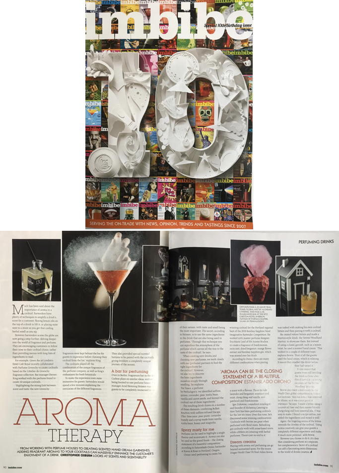 Imbibe feature about cocktail perfuming.