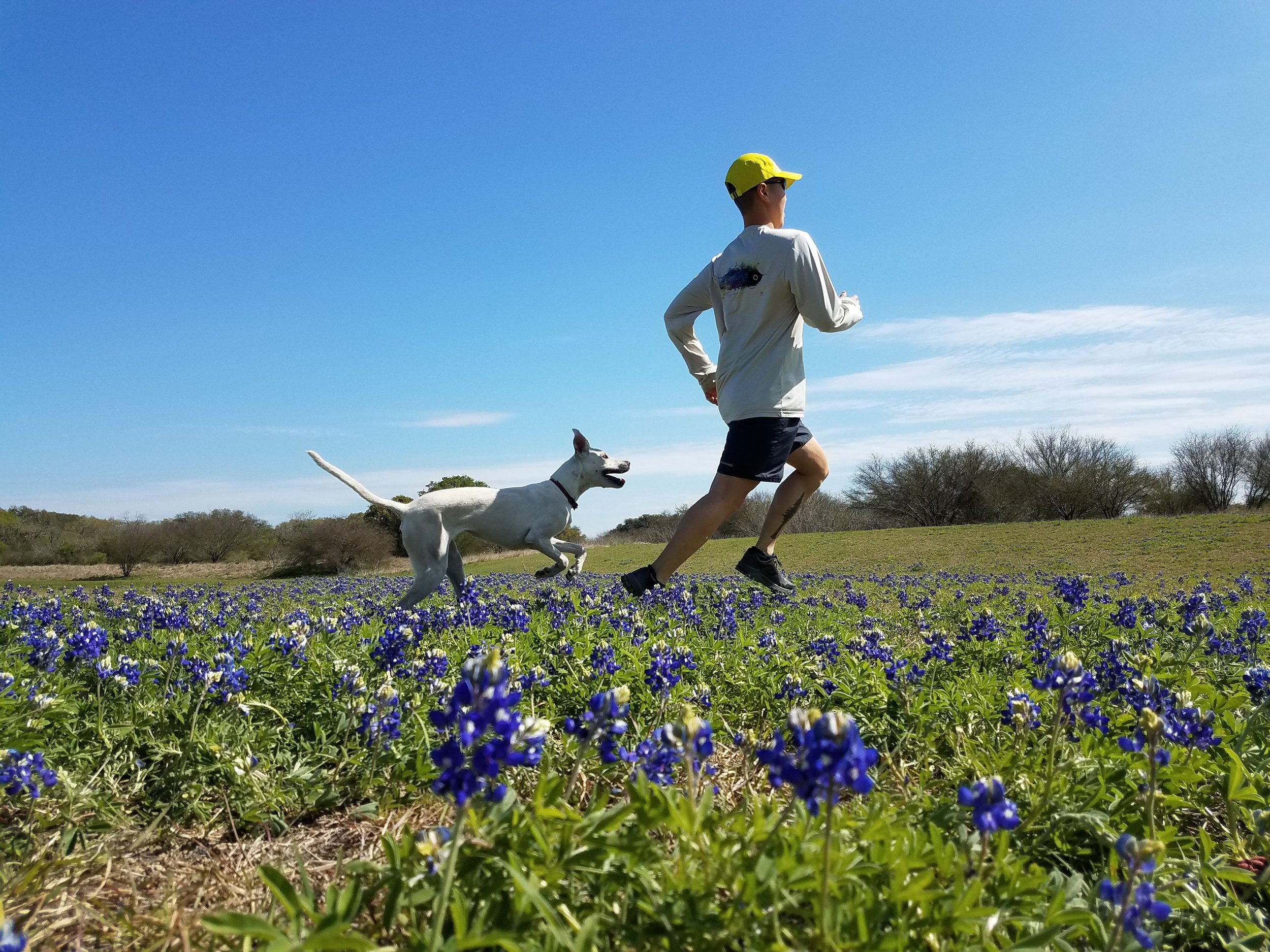 Running with bluebonnets