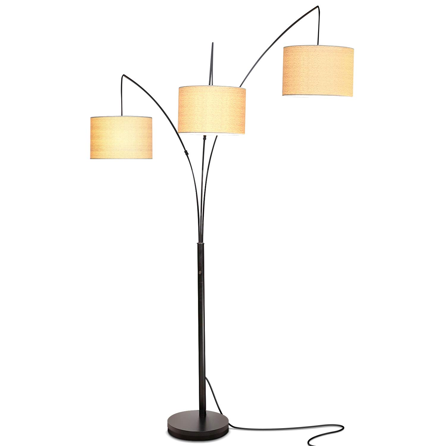 Brightech Trilage - Modern LED Arc Floor Lamp with Marble Base - I really can't say enough about how much we love this lamp. The base is so solid. It's real marble and has such great black and white detail. The shades are so lightweight so you don't feel like the lamp is constantly falling. And it's a three way lamp, so you can choose your brightness. You can use one, two or all three lights. Can't recommend it enough.