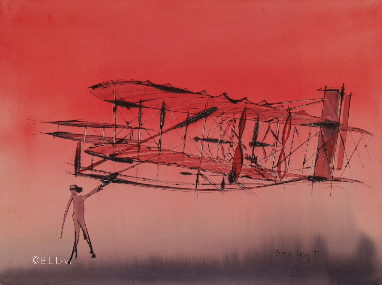 Gramp was fascinated with flight, and loved thinking of the Wright brothers, who no doubt inspired this painting.