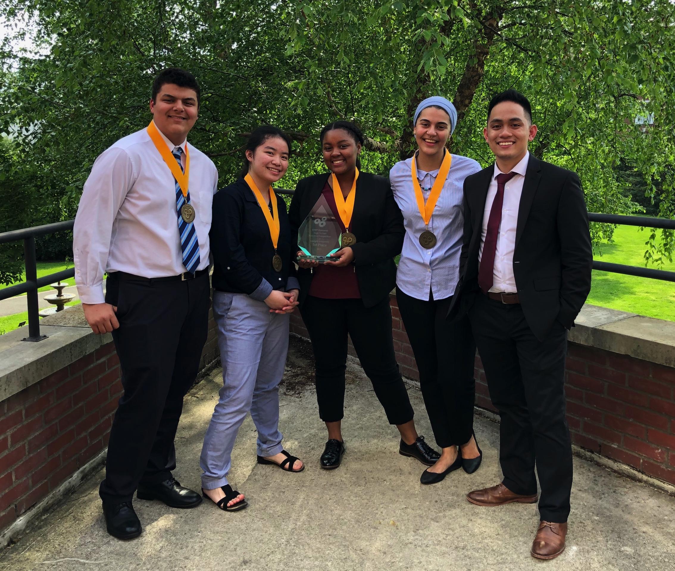 Left to right: Muhammad Soliman, Carol Pan, Aliana Wilson, Omnia Soliman, and Gabriel Salvador (STEP Coordinator)