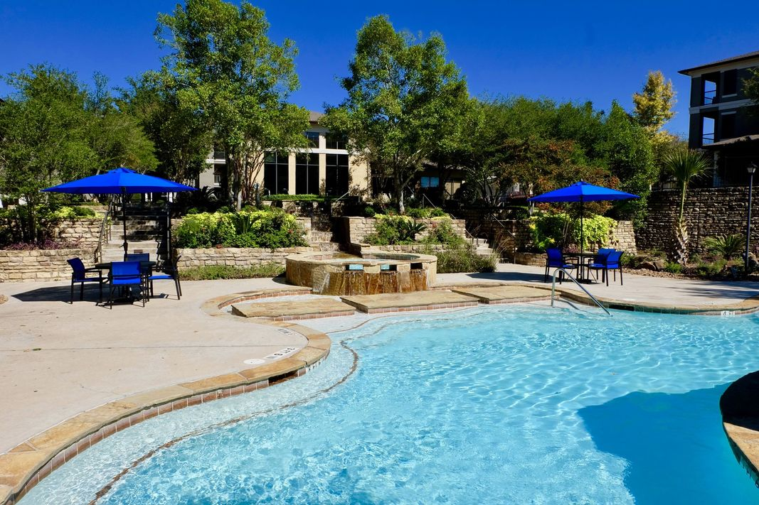 Resort-style pool at Ascent North, located in Austin, TX.