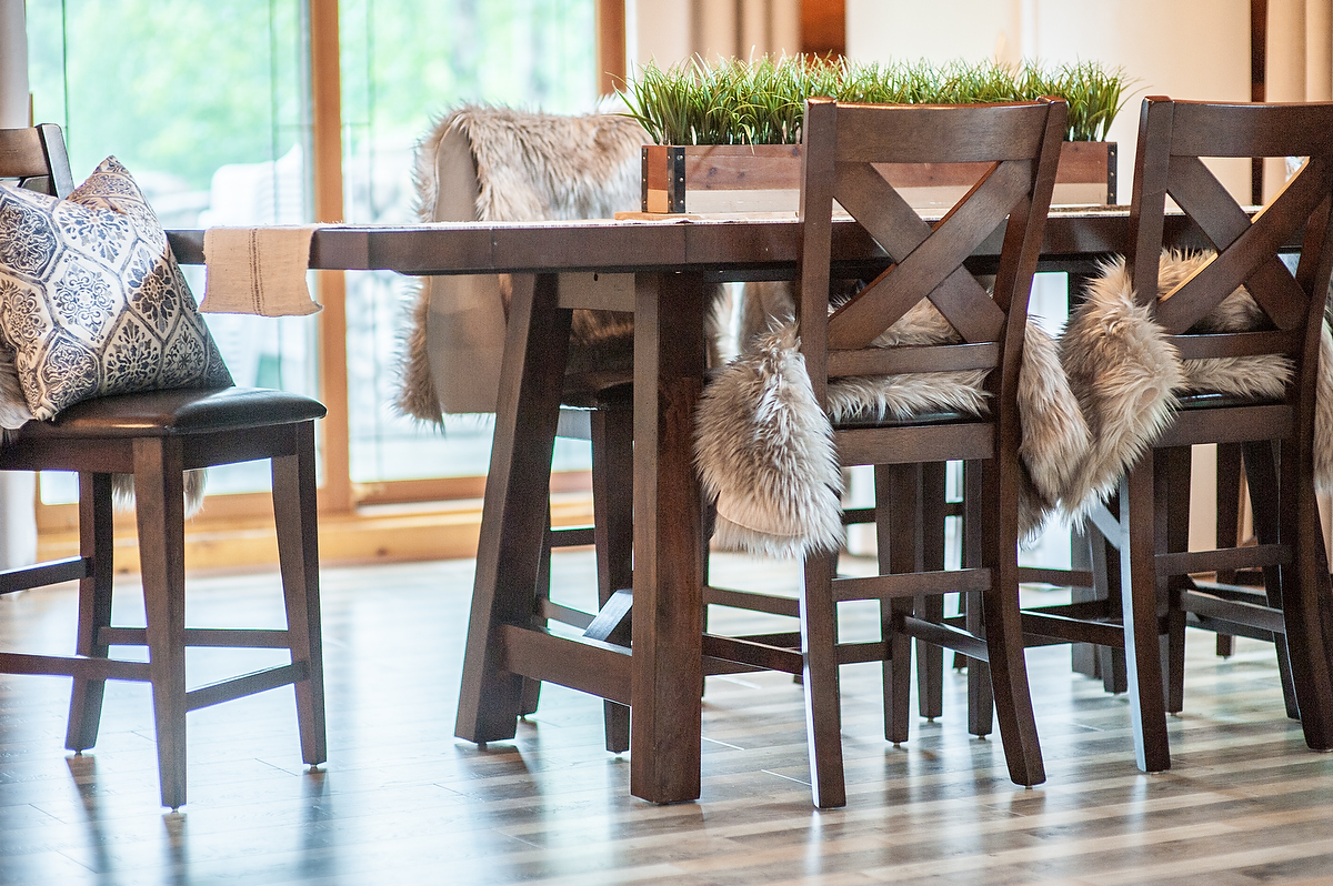 The kitchen table offers an intimate seating arrangement.