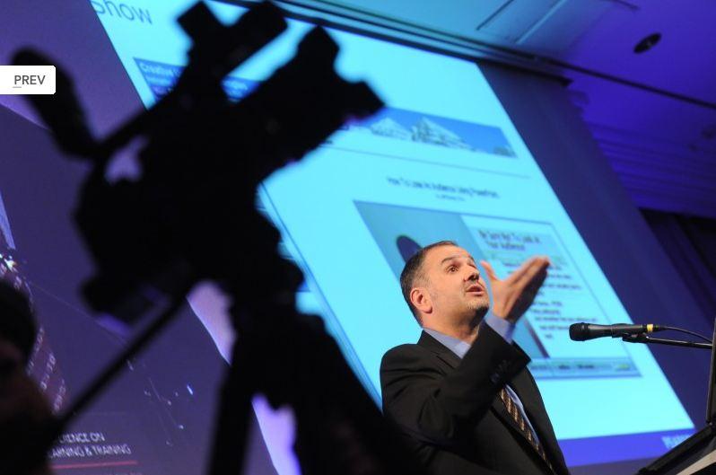 Jeff giving a keynote address at Online Educa Berlin