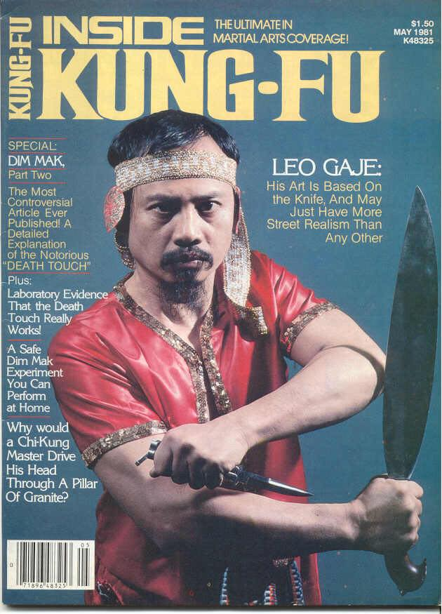Grand Tuhon Leo T. Gaje Jr. on the cover of Inside Kung-Fu Magazine, 1981.