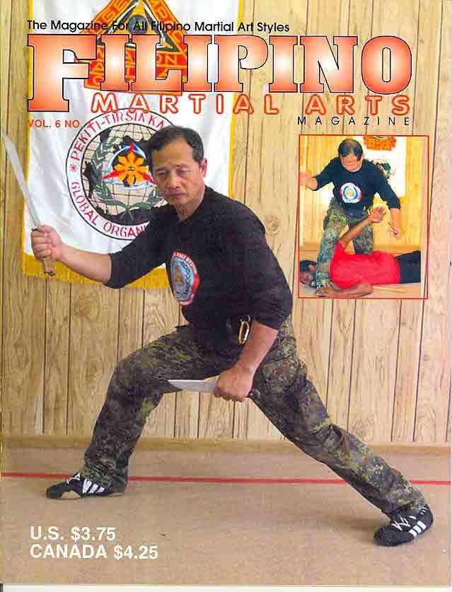 Grand Tuhon Leo T. Gaje Jr. on the cover of Filipino Martial Arts Magazine with Tuhon AK, 2004.