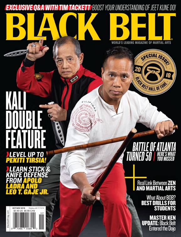 Grand Tuhon Leo T. Gaje Jr. on the cover of Black Belt Magazine with Tuhon Apolo, 2018.