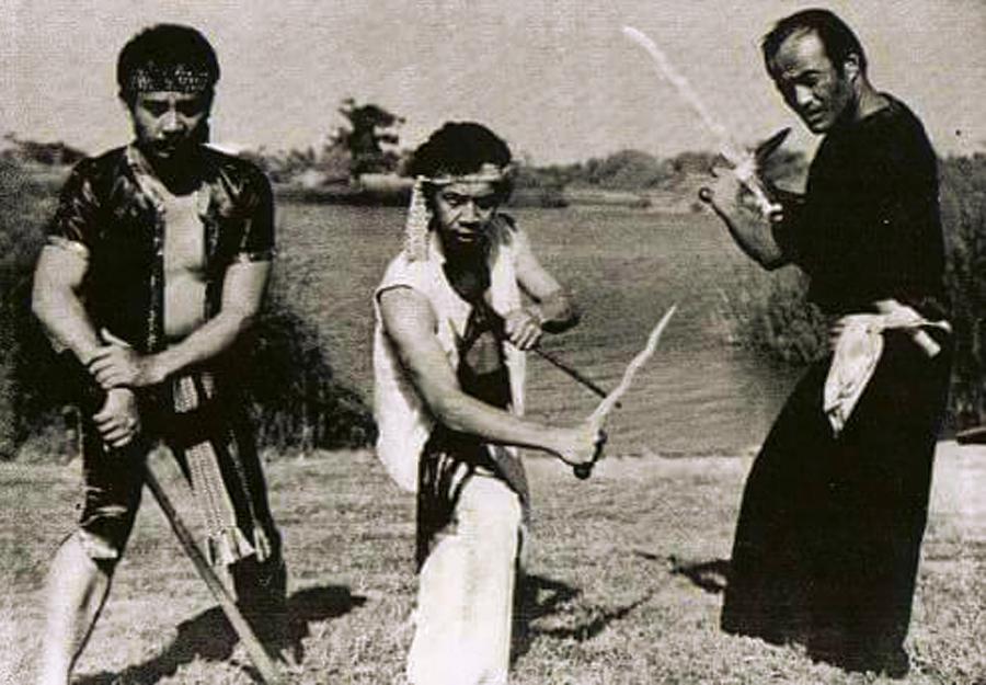 "Grand Tuhon Leo T. Gaje Jr. with Suryadi ""Eddie"" Jafri (RIP), and Guro Dan Inosanto"