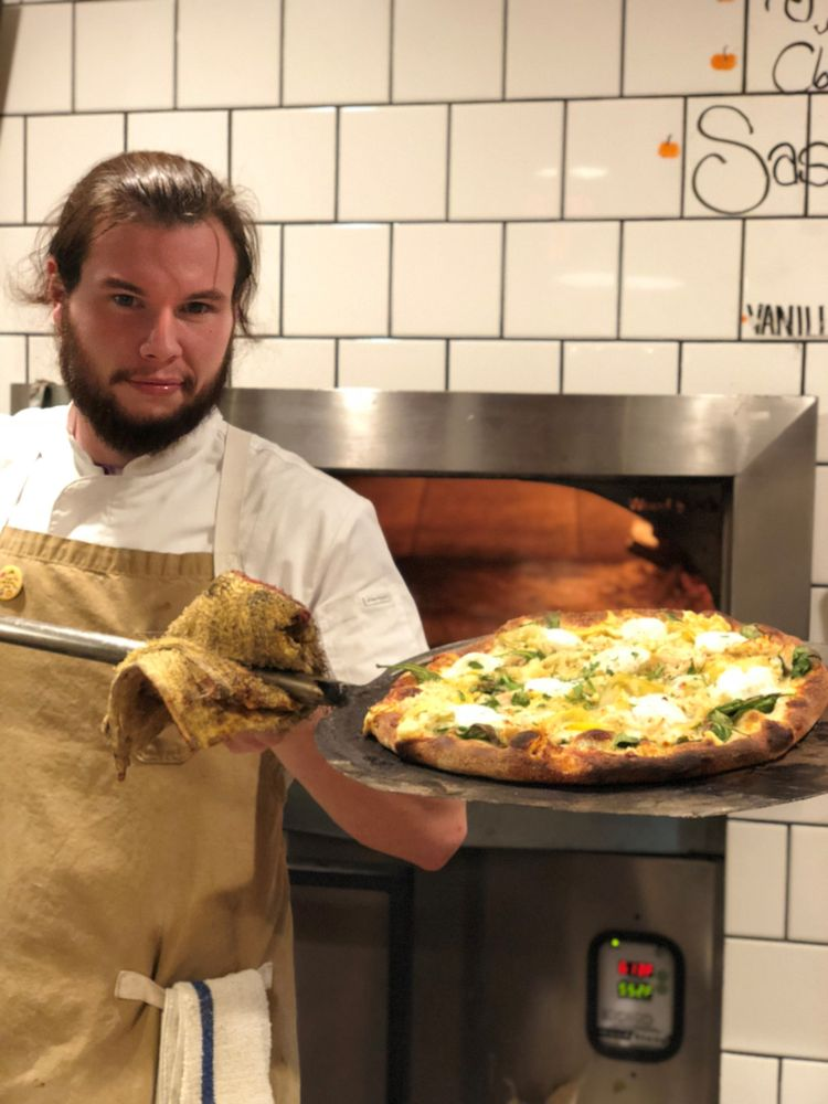 Woodfired pizza at Old County Inn