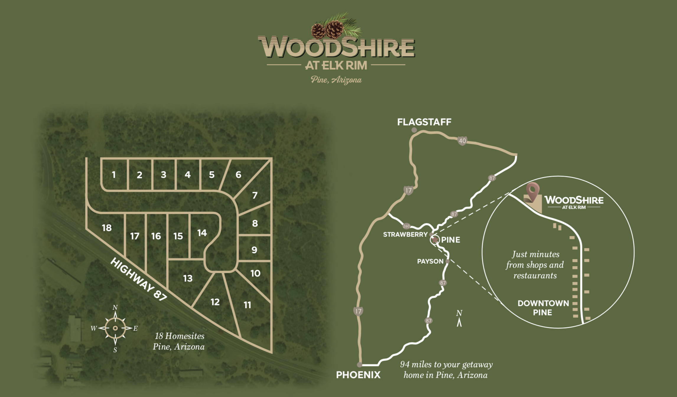 Pine, Arizona local map - WoodShire at Elk Rim is tucked into the woods, conveniently located minutes from downtown Pine