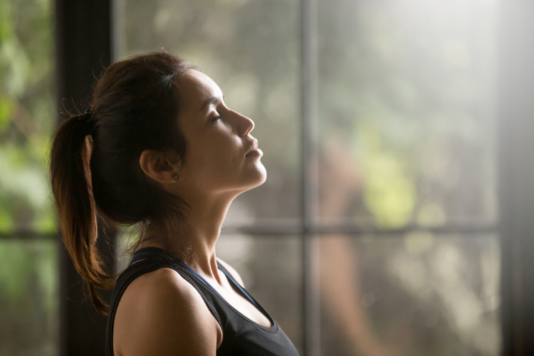Meditating while high woman