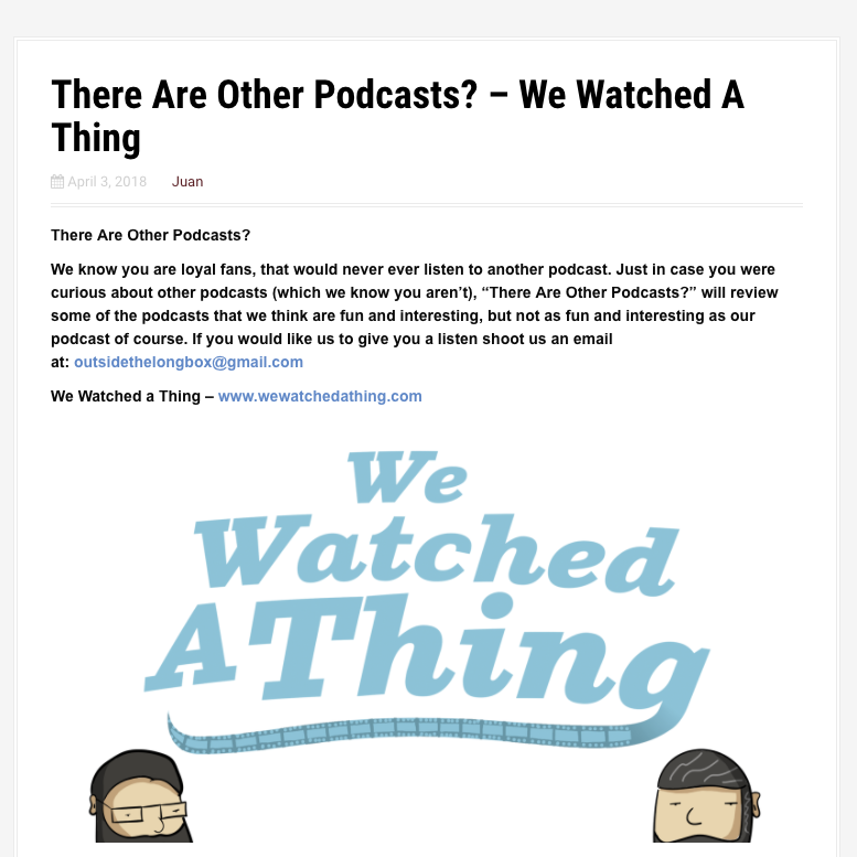 Thinking Outside the Longbox - There are other Podcasts