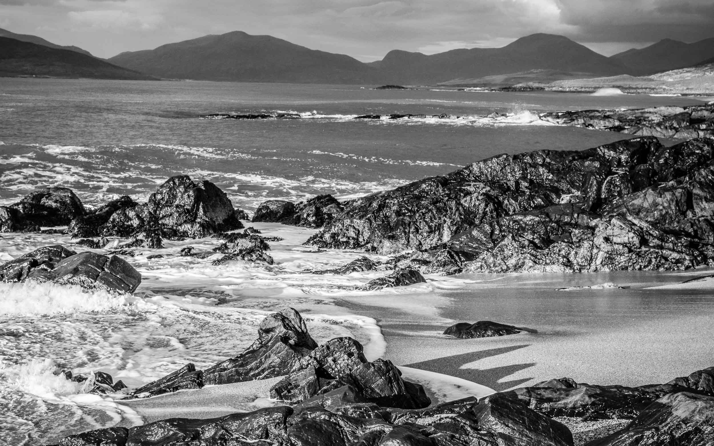 The crown at Bag Steinigidh, Scarasta, Isle of Harris. Whilst making this photograph I was drawn to the white pebble which resisted all the efforts of the wave action to dislodge it - see the White Pebble in the Intimate Landscapes gallery