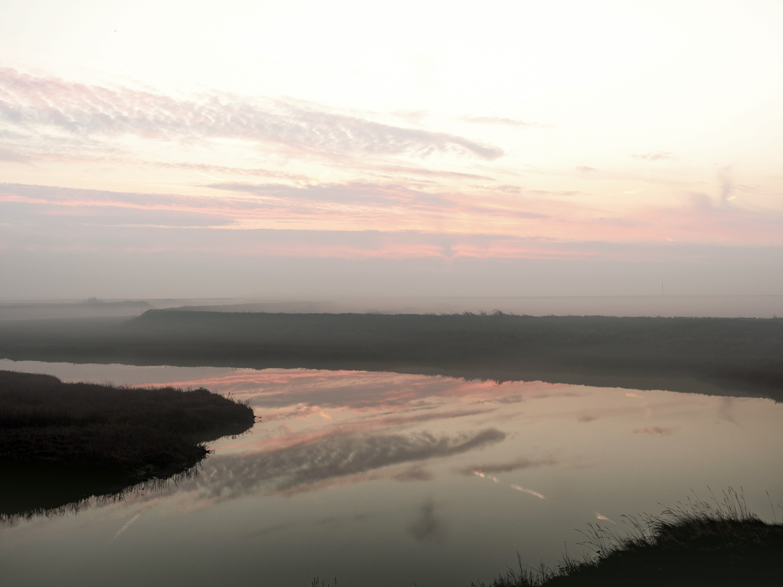 An amble to North Weir Point - One of my favourite local patches is the stroll down a short length of salt marsh between the road and the river at North Weir Point. This is where the river Ore reaches the sea at the southern tip of Orford Ness.This was a magical cold morningn in late February 2019 with the happy coincidence of dawn and high tide.Starting with a view to the north-east across the creek with the sun still below the horizon