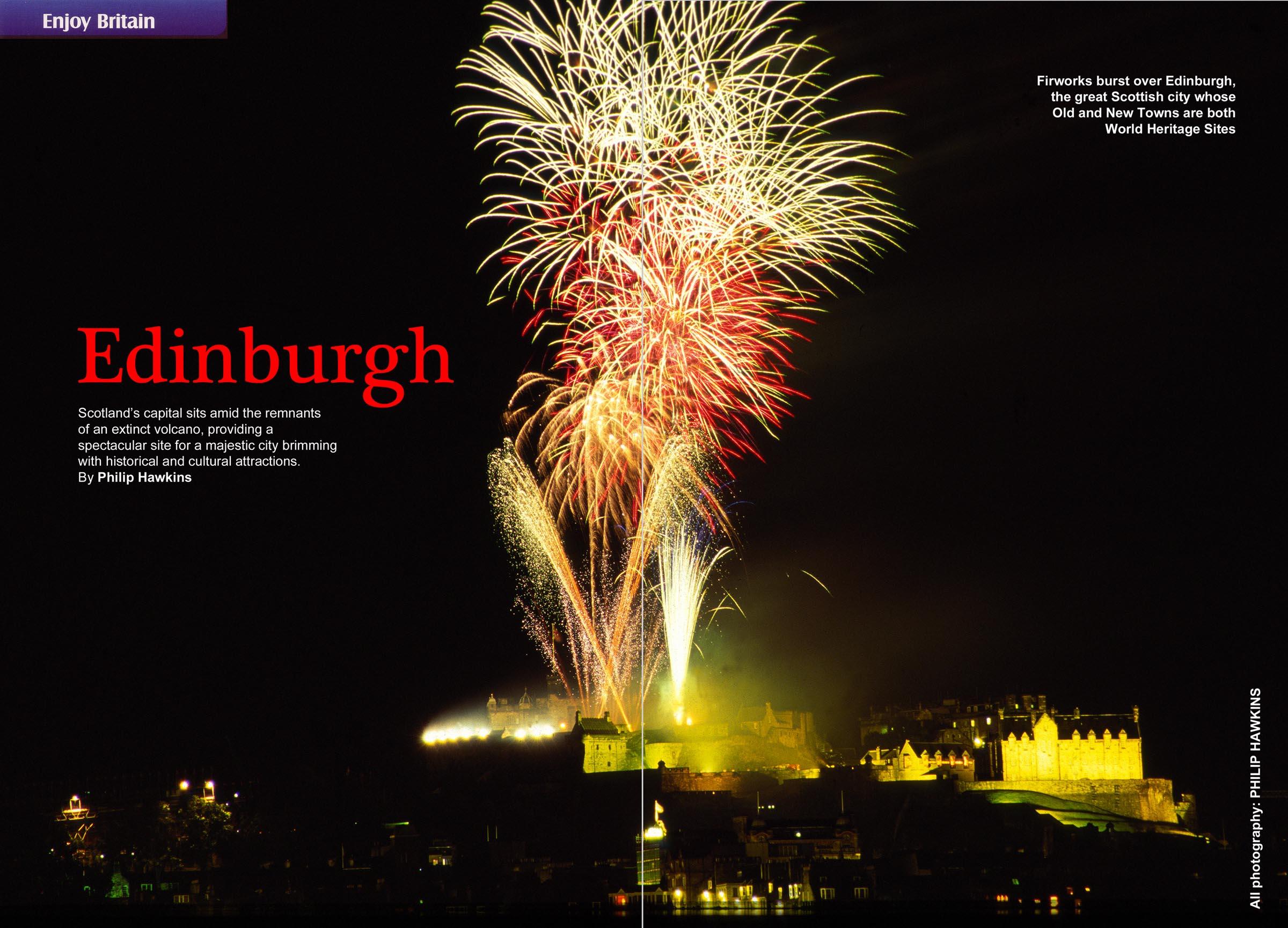 Edinburgh fireworks double page magazine spread