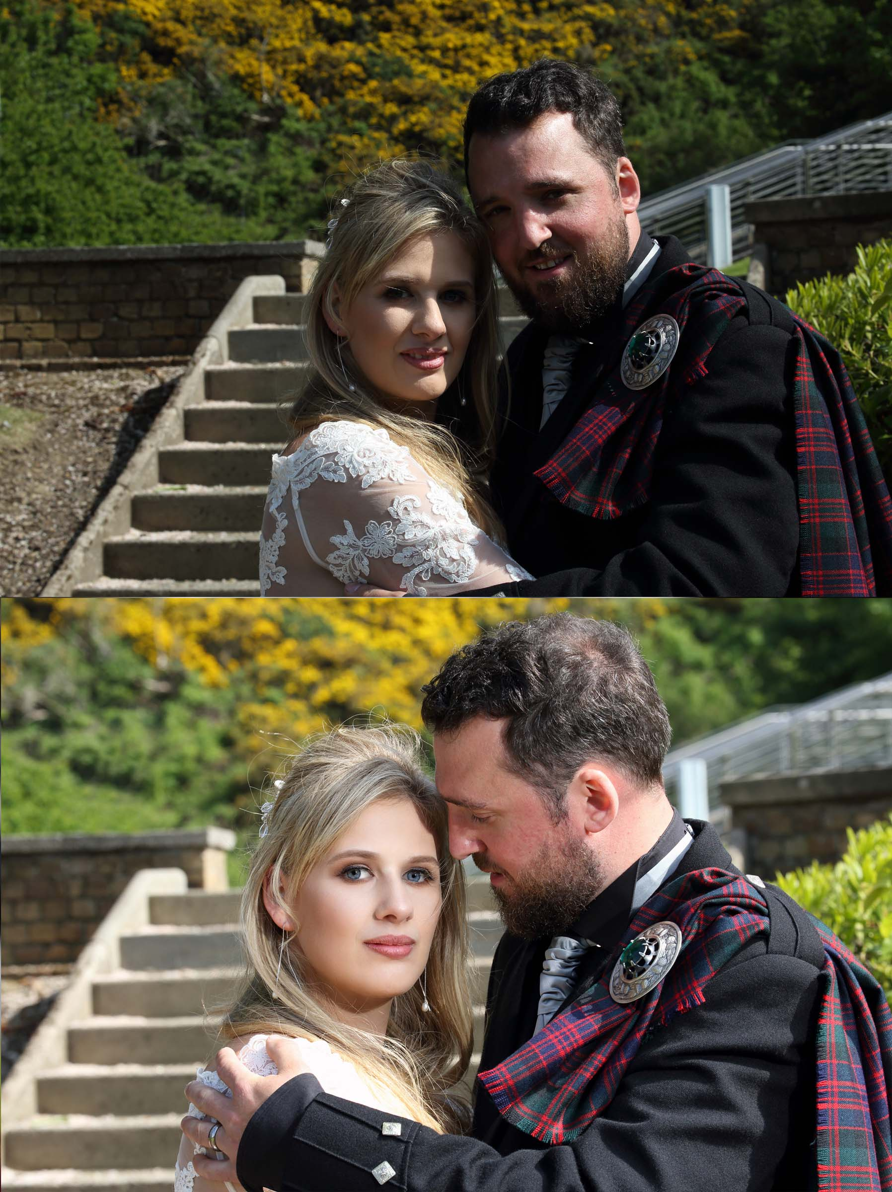 Here's an example from a recent wedding. The top photo (natural light) is pleasant enough but look how much more impact the lower image has and how much more flattering the bride looks. Because I have total control of my lighting I'm also able to over power the angle of natural light and get rid of that unsightly shadow falling across half of the brides face in the top pic!
