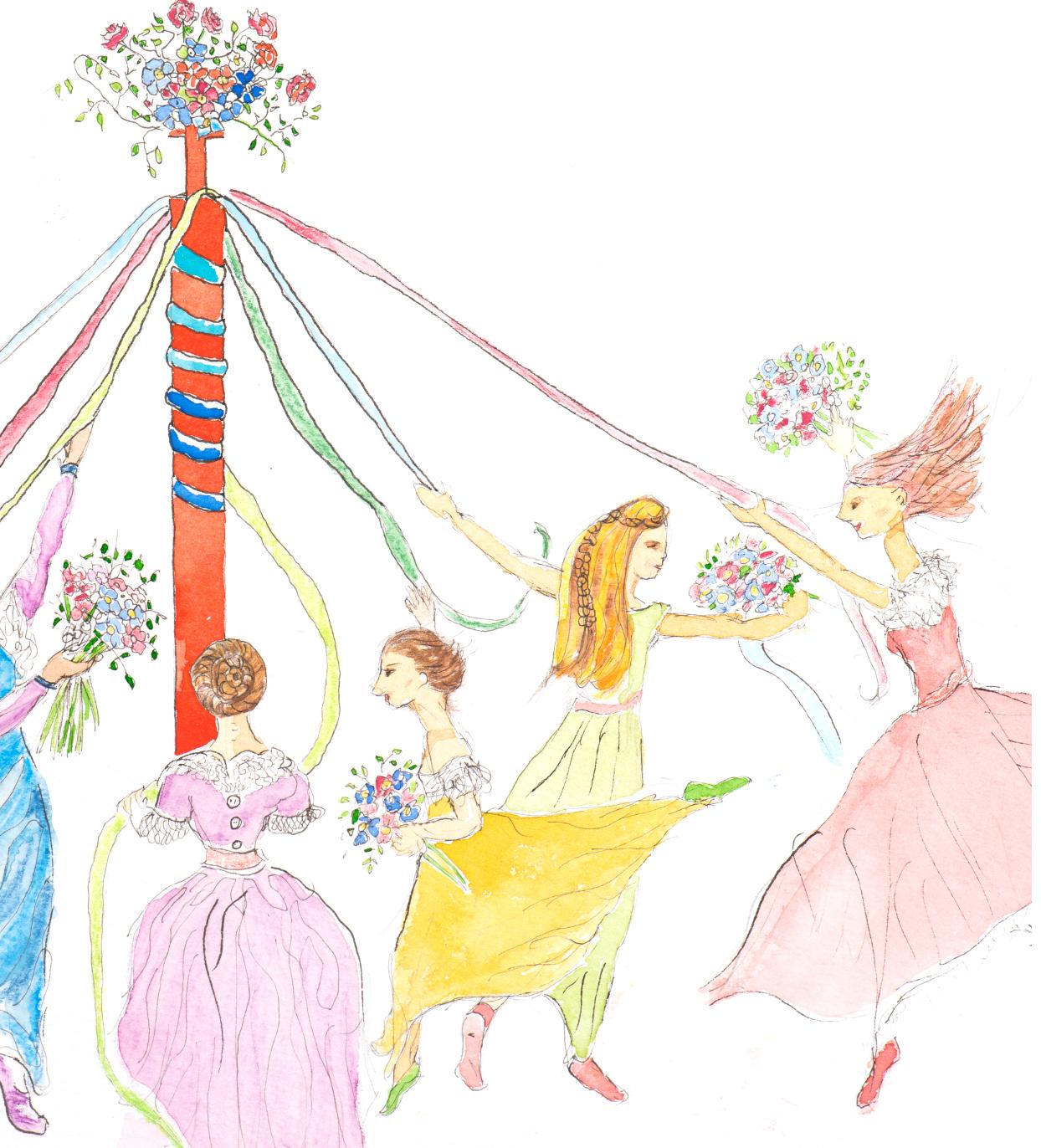 Maypole dancers - detail