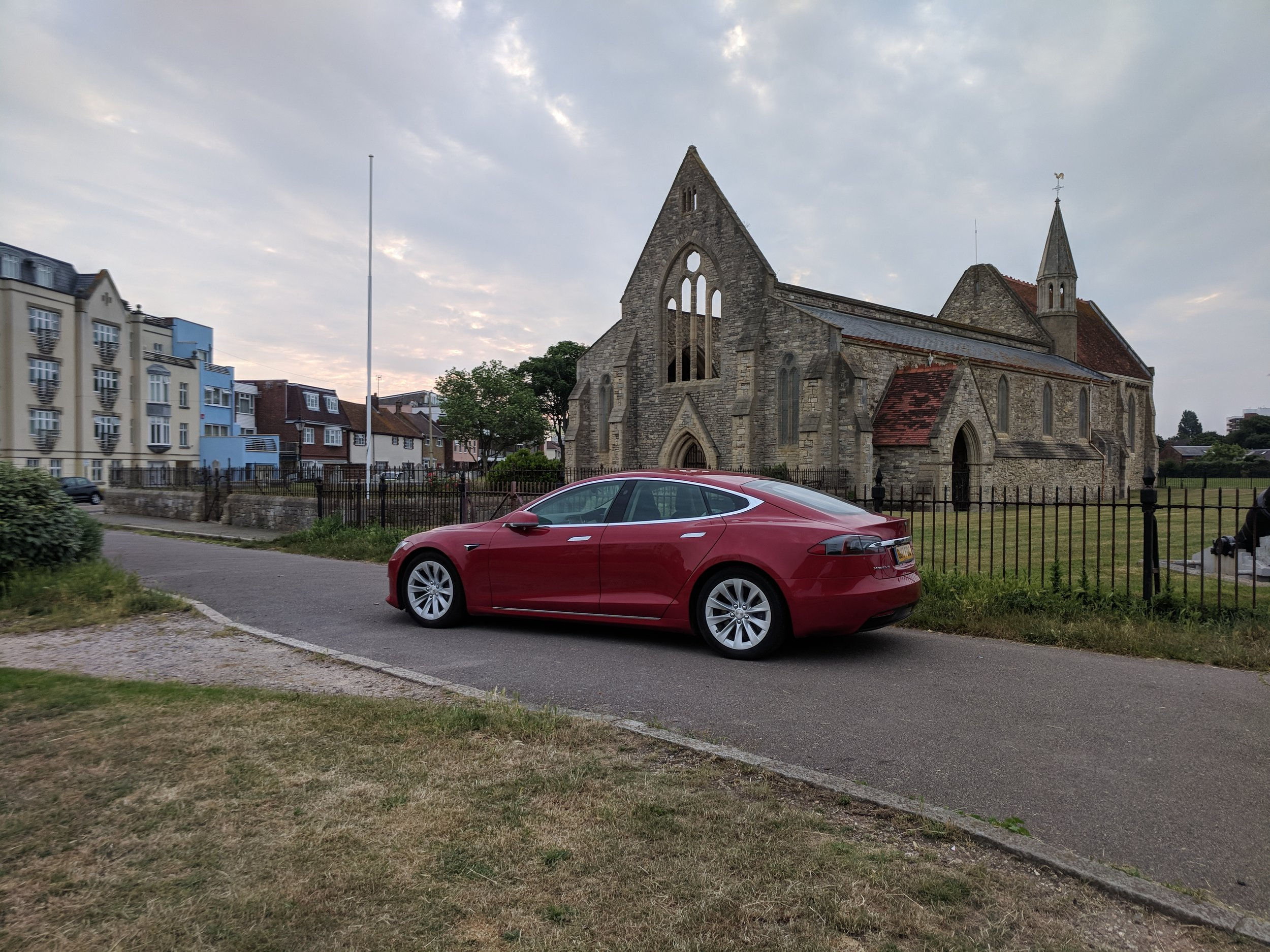 Tesla Model S 75d - available to hire.