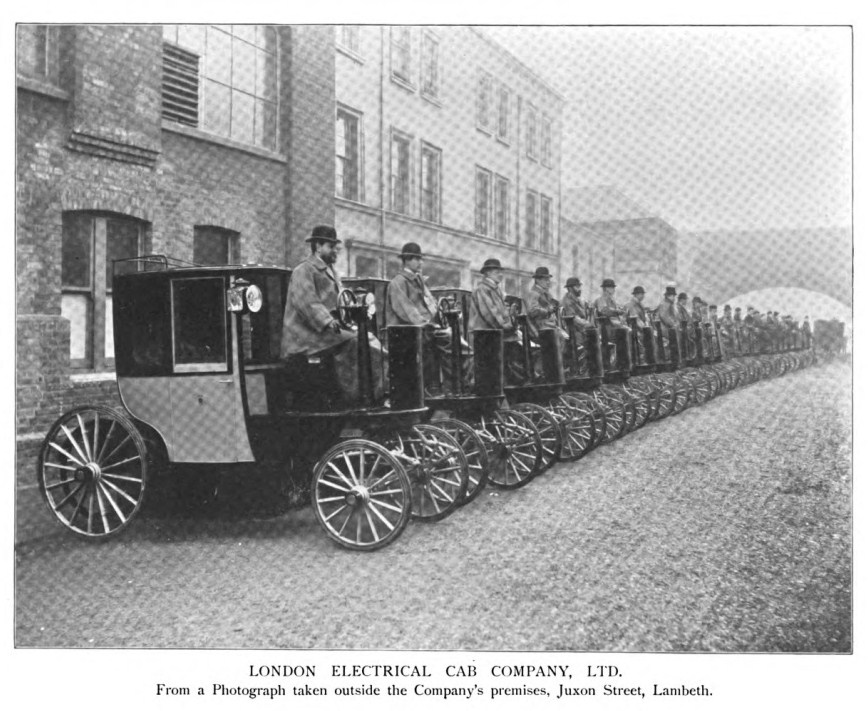 Walter Bersey's 1897 Electric Cab, London's first self propelled Taxi.