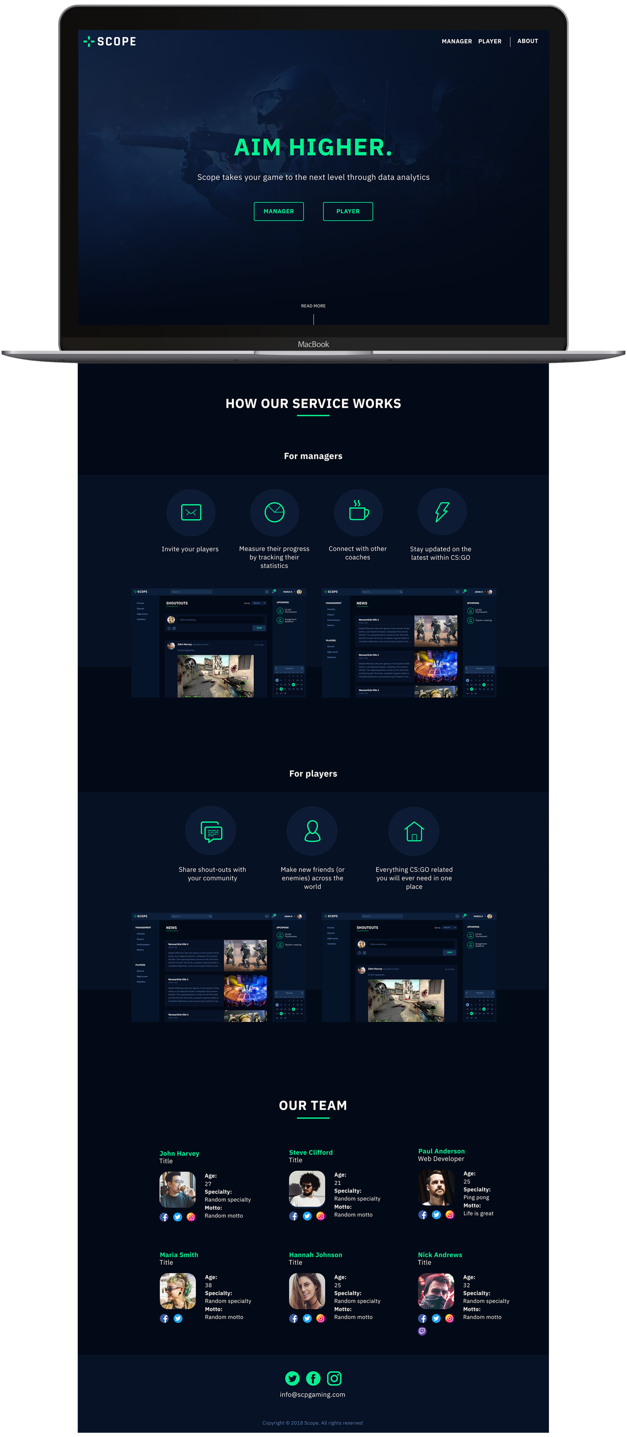 The final design, here seen in the landing page, that we also built in Wordpress.