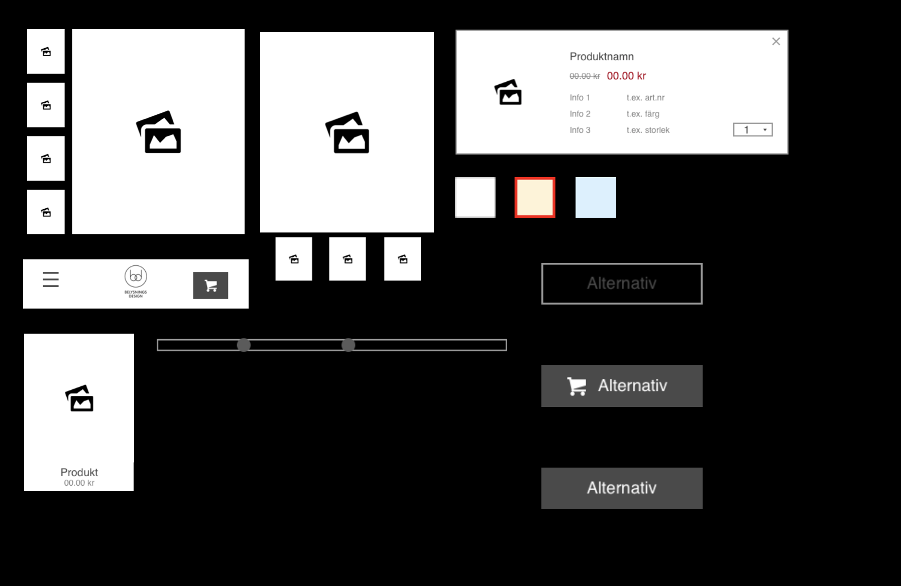 Design System Assets used in the final design: product cards and CTA:s