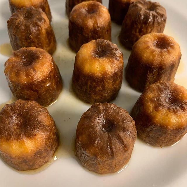Custardy, rum soaked caneles. A delicious ending to a private dinner party last night
