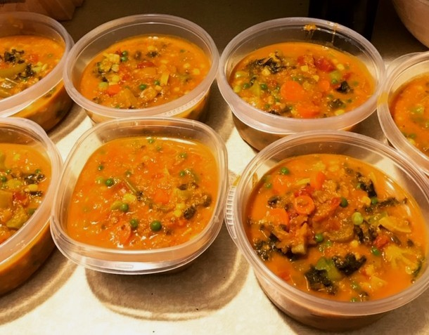(I freeze the soup in 5-cup containers. They take about three days in the refrigerator to completely thaw. For safety reasons, I do not heat them up in plastic containers. I use ceramic or glass bowls.)