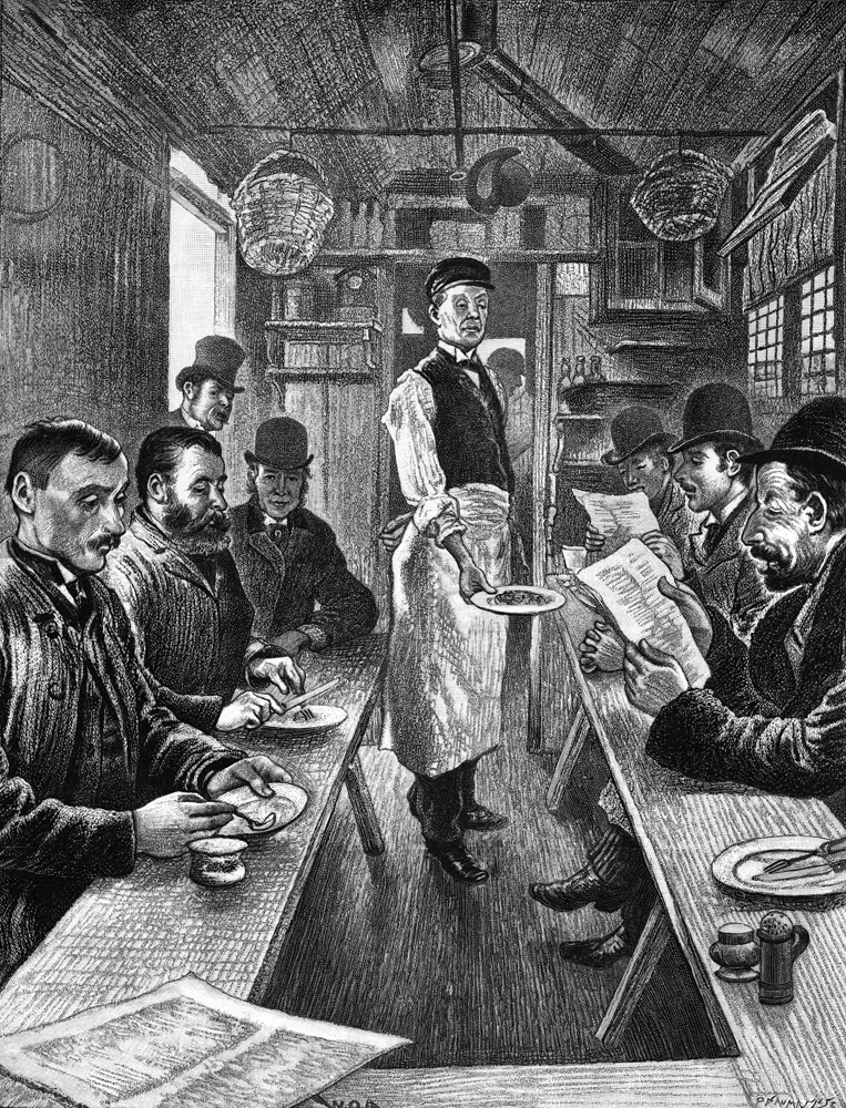 Interior of a cabmen's shelter. The Illustrated London News, 1890 April 19th, p493 Mary Evans Picture Library