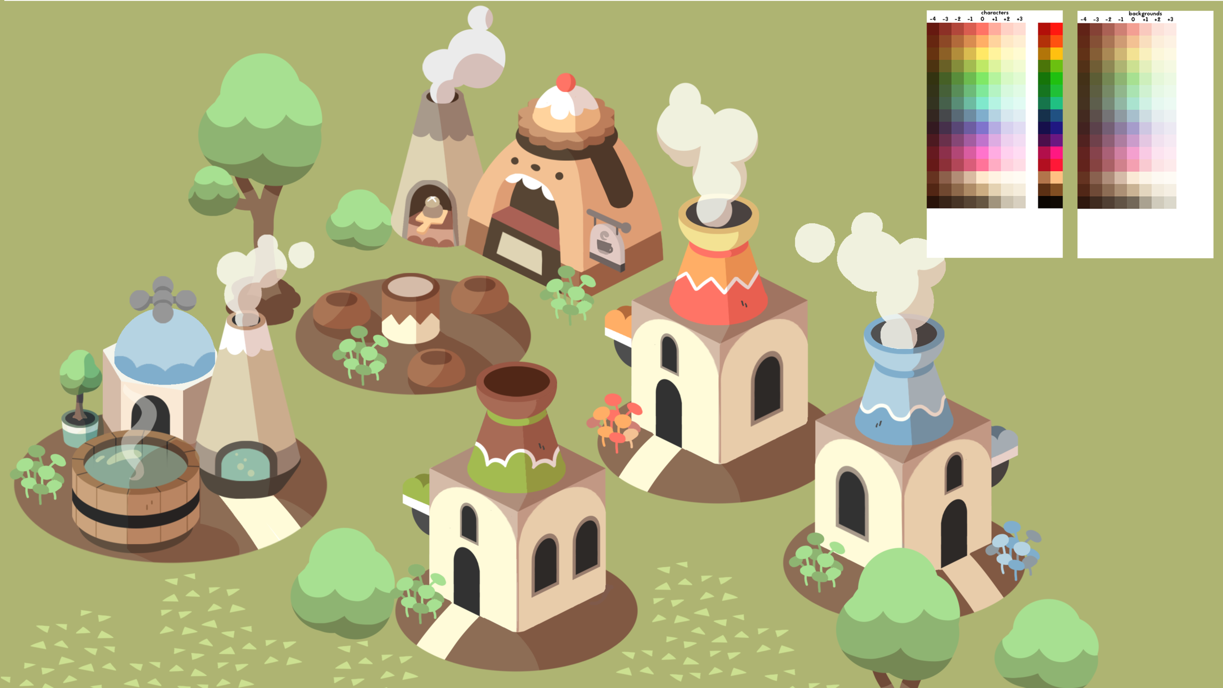 Some early building designs with the pastoral colour scheme.