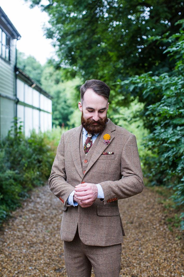 vintage brown wedding suit tweed