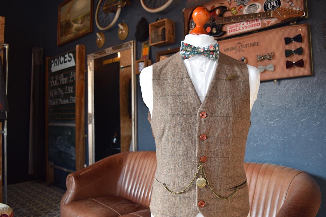 tweed waistcoast brown suit hire