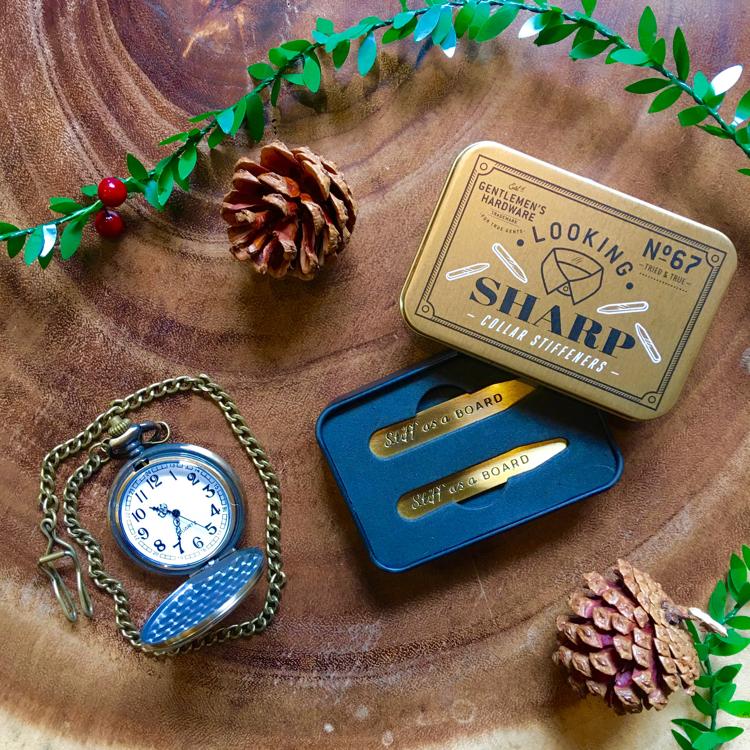 Gentlemen's Hardware Collar stiffeners & Vintage Suit Hire Co battery operated pocket watch (£20)