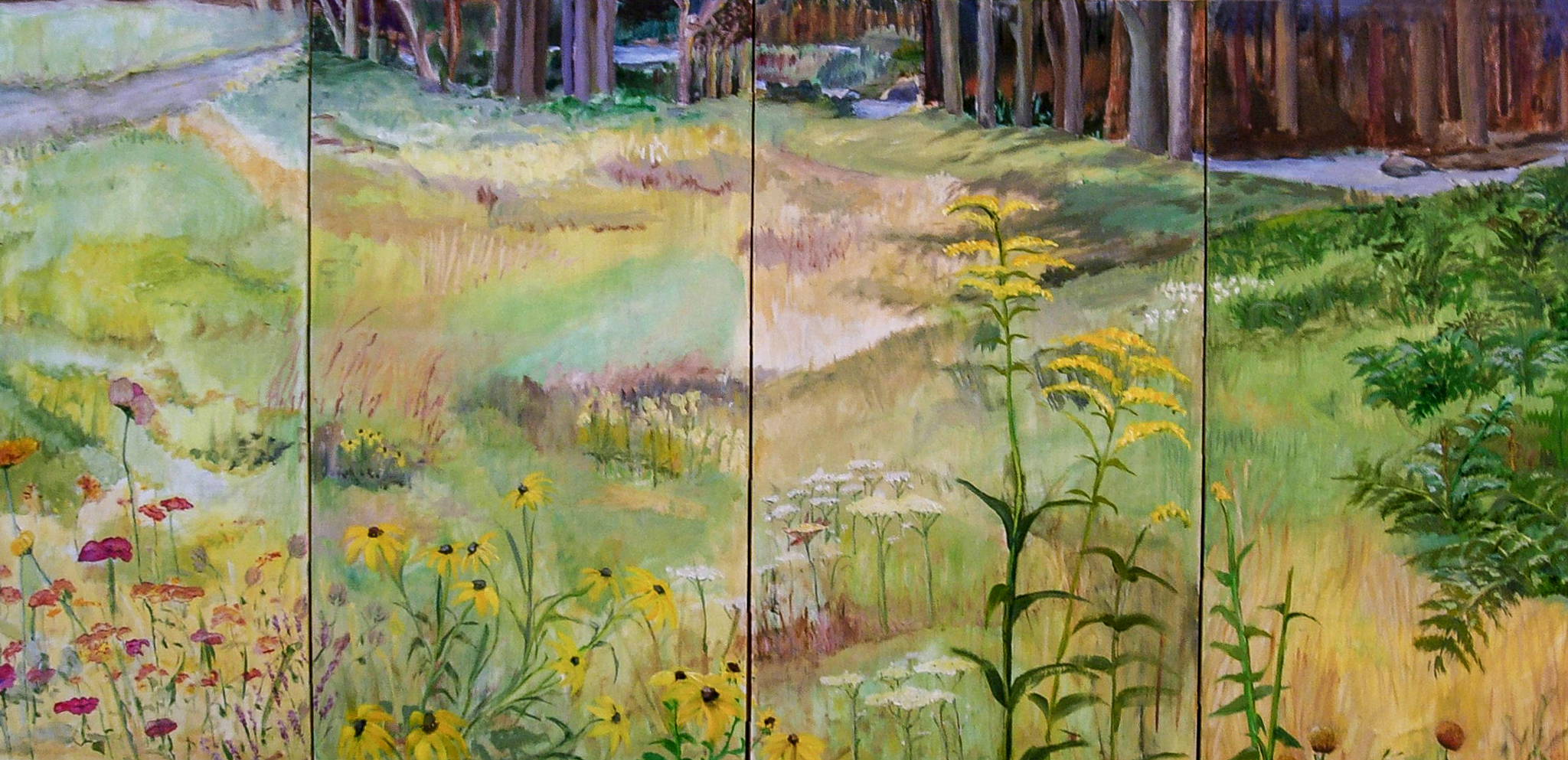 """Wildflowers: On Coming to a River  oil/silk folding-screen 36 x 72"""""""